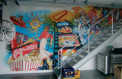 Airbrush Wandmalerei Pinball