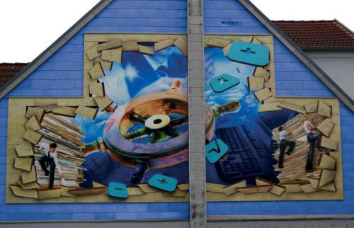 Airbrush Wandmalerei Fassade Großfläche